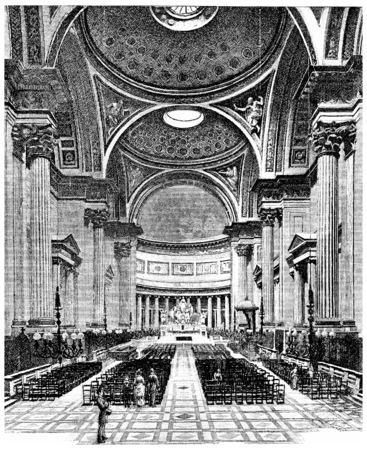 the madeleine: Inside the Church of the Madeleine, vintage engraved illustration. Paris - Auguste VITU – 1890.
