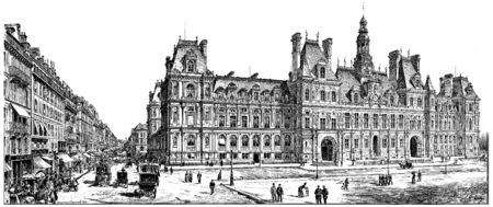 rivoli: Rue de Rivoli and City Hall, vintage engraved illustration. Paris - Auguste VITU – 1890.