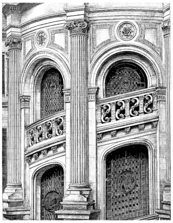 window view: Exterior view of a stairs turret, vintage engraved illustration. Paris - Auguste VITU – 1890. Stock Photo