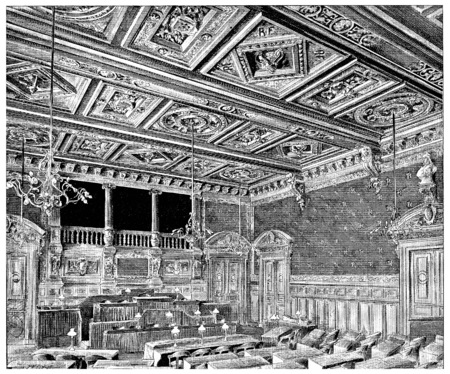 council: Hall of council meetings, vintage engraved illustration. Paris - Auguste VITU – 1890. Stock Photo