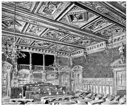 Hall of council meetings, vintage engraved illustration. Paris - Auguste VITU – 1890.
