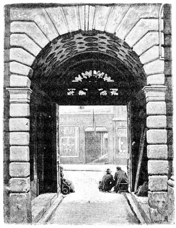 sully: Portal Hotel de Sully, seen from the courtyard, vintage engraved illustration. Paris - Auguste VITU – 1890.