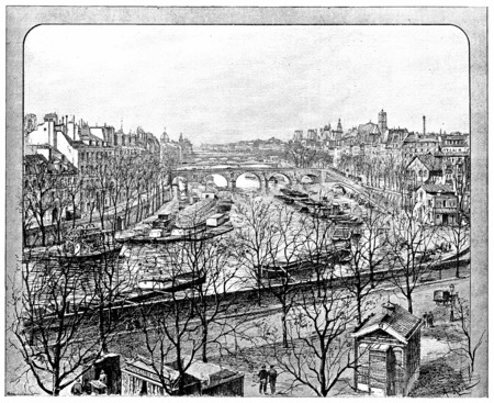 View from the Boulevard Henri IV on the right arm of the Seine, vintage engraved illustration. Paris - Auguste VITU – 1890.