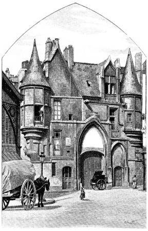 Hotel de Sens, vintage engraved illustration. Paris - Auguste VITU – 1890. illustration