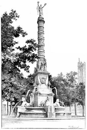 fontaine: Fontaine du Palmier, Place du Chatelet, vintage engraved illustration. Paris - Auguste VITU – 1890.