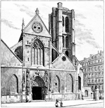 nicolas: Church of St. Nicolas des Champs, vintage engraved illustration. Paris - Auguste VITU – 1890.