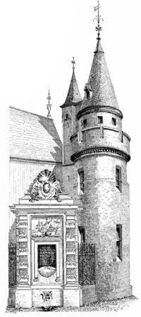 Fountain and Tower of Green wood, vintage engraved illustration. Paris - Auguste VITU – 1890. illustration