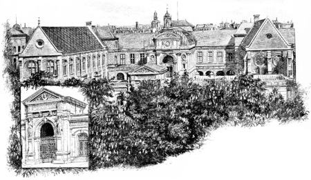 conservatory: Front door and all of the National Conservatory of Arts and Crafts, vintage engraved illustration. Paris - Auguste VITU – 1890. Stock Photo