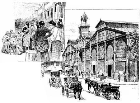 old people: The central aisle, Market Hall, vintage engraved illustration. Paris - Auguste VITU – 1890. Stock Photo