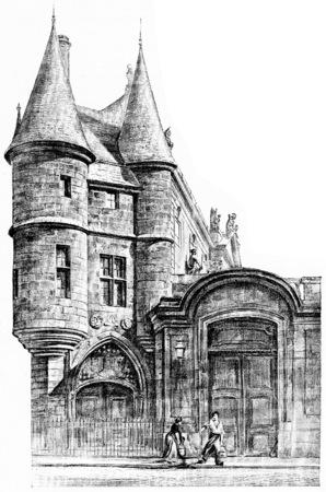 archives: Palace of the National Archives, vintage engraved illustration. Paris - Auguste VITU – 1890.