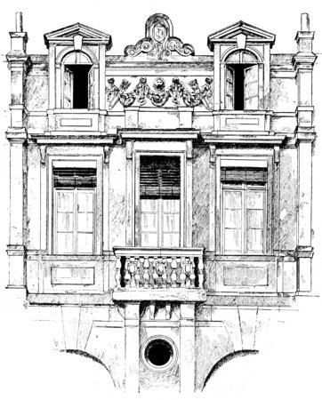 Detail of facade of the hotel Lamoignon, vintage engraved illustration. Paris - Auguste VITU – 1890.