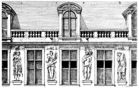 courtyard: Facade of the Hotel Carnavalet, the courtyard, decorated with four seasons, vintage engraved illustration. Paris - Auguste VITU – 1890.