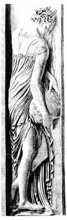 nymph: One of the nymphs of Jean Goujon, vintage engraved illustration. Paris - Auguste VITU – 1890. Stock Photo