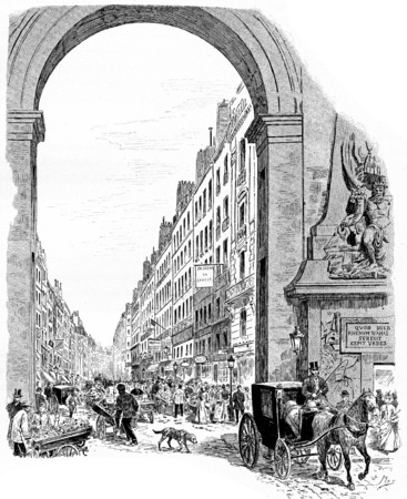 crowded street: The entrance of the Faubourg Saint-Denis, vintage engraved illustration. Paris - Auguste VITU – 1890. Stock Photo