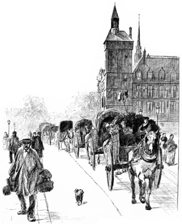 Arrivals from the suburbs, vintage engraved illustration. Paris - Auguste VITU – 1890. Imagens