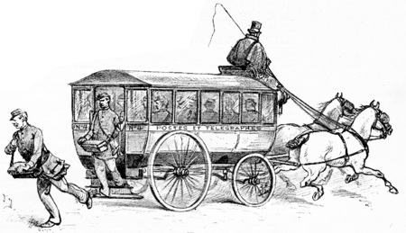 The omnibus factors, vintage engraved illustration. Paris - Auguste VITU – 1890.