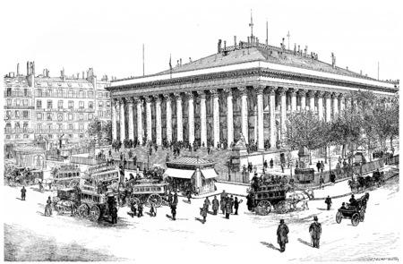 bourse: Paris Bourse, vintage engraved illustration. Paris - Auguste VITU – 1890. Stock Photo