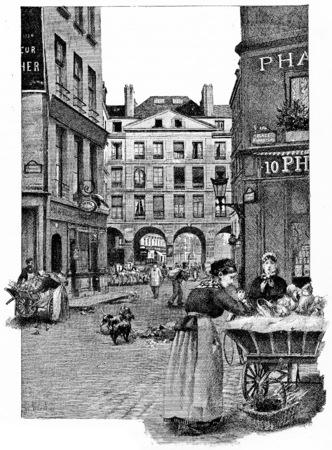 Die Arkaden der Rue de la Ferronnerie, Jahrgang gravierte Darstellung. Paris - Auguste VITU - 1890. Standard-Bild - 39498269