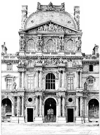 pavilion: Pavilion Richelieu, vintage engraved illustration. Paris - Auguste VITU – 1890. Stock Photo