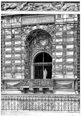 wharf: Window of the small gallery on the Quai du Louvre, vintage engraved illustration. Paris - Auguste VITU – 1890.