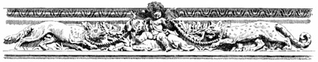 friso: Friso de la galería de la línea de costa, cosecha ilustración grabada. París - Auguste VITU - 1890.