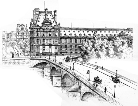 pont: The Pavilion de Marsan, the Pavillon de Flore and the Pont Royal, Quai des Tuileries, vintage engraved illustration. Paris - Auguste VITU – 1890.