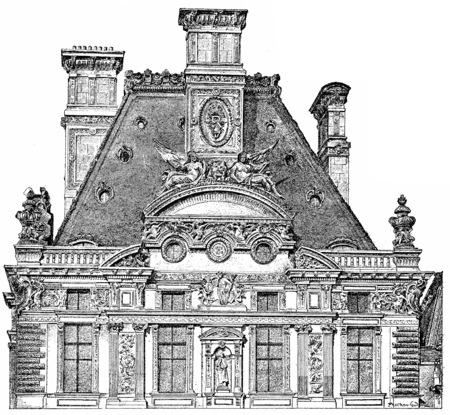 pavilion: Coronation Pavilion de Marsan, vintage engraved illustration. Paris - Auguste VITU – 1890.