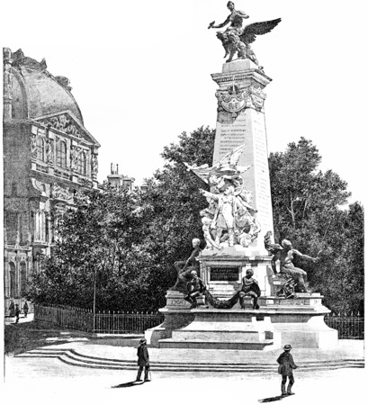 leon: Monument Gambetta, vintage engraved illustration. Paris - Auguste VITU – 1890.