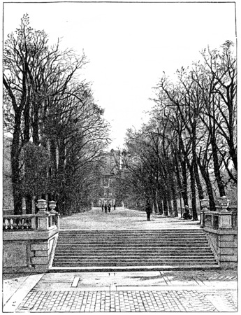 水辺のテラス、ヴィンテージには、図が刻まれています。パリ - オーギュスト ・ ヴィトゥ-1890年。 写真素材