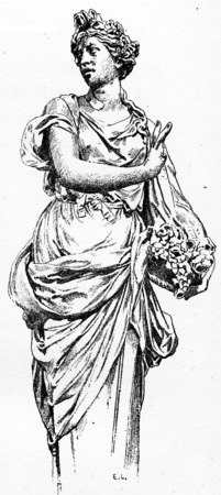 basin: Around the great basin of the Tuileries, vintage engraved illustration. Paris - Auguste VITU – 1890.