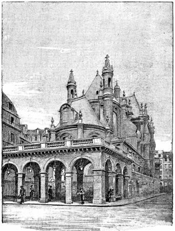 oratorio: Il tempio dell'oratorio dalla strada di Rivoli, vintage illustrazione inciso. Parigi - Auguste VITU - 1890.