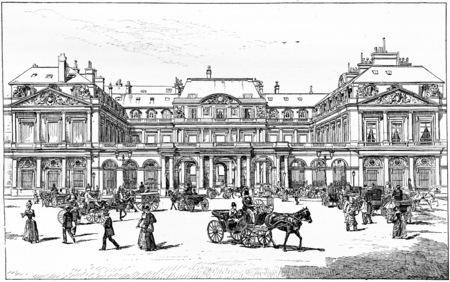 Square of royal palace, vintage engraved illustration. Paris - Auguste VITU – 1890. illustration
