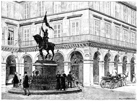 Statue of Joan of Arc, Place de Rivoli, vintage engraved illustration. Paris - Auguste VITU – 1890.