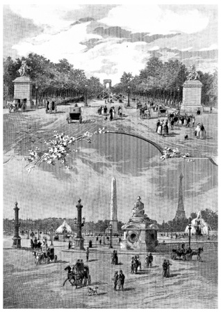 Place de la Concorde and Champs-Elysees avenue, vintage engraved illustration. Paris - Auguste VITU – 1890. Фото со стока