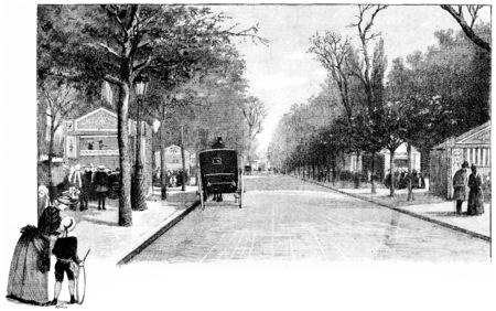 Avenue Marigny, vintage engraved illustration. Paris - Auguste VITU – 1890.