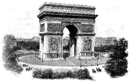 Triumphal arch of the star, vintage engraved illustration. Paris - Auguste VITU – 1890. 스톡 콘텐츠