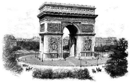 Triumphal arch of the star, vintage engraved illustration. Paris - Auguste VITU – 1890.