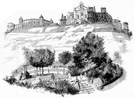 reservoir: The new municipal reservoir, the Church of the Sacred Heart, the St. Peters Square, vintage engraved illustration. Paris - Auguste VITU – 1890.