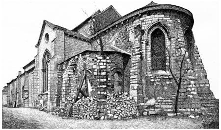 montmartre: Church of Saint Peter of Montmartre, vintage engraved illustration. Paris - Auguste VITU – 1890.