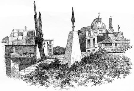 The obelisk of the Meridian of Paris, vintage engraved illustration. Paris - Auguste VITU – 1890. Stock fotó