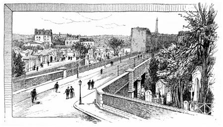 Caulaincourt der Brücke über den Montmartre Friedhof, Jahrgang gravierte Darstellung. Paris - Auguste VITU - 1890. Standard-Bild - 39516136