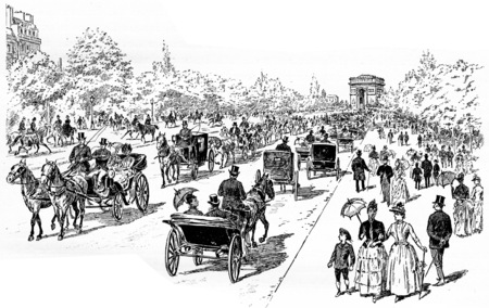 horse cart: The Avenue at Bois de Boulogne, vintage engraved illustration. Paris - Auguste VITU – 1890. Stock Photo