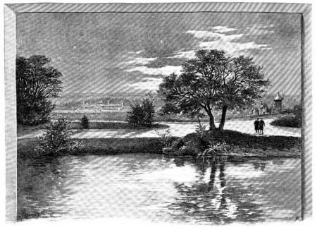 Hipódromo de Longchamp, dada la cascada de Bois de Boulogne, ilustración de la vendimia grabado. París - Auguste VITU - 1890. Foto de archivo - 39498338
