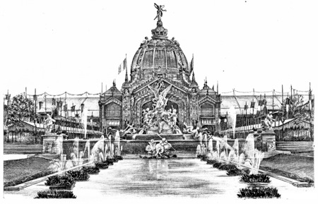 Coutan the fountain and the central dome, vintage engraved illustration. Paris - Auguste VITU – 1890.