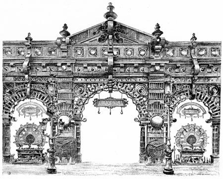 metallurgy: Decorative door of Metallurgy in the central gallery, vintage engraved illustration. Paris - Auguste VITU – 1890 Stock Photo