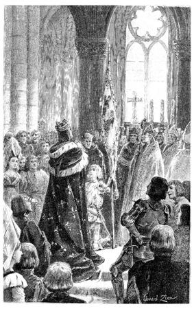 Joan of arc reims, vintage engraved illustration.