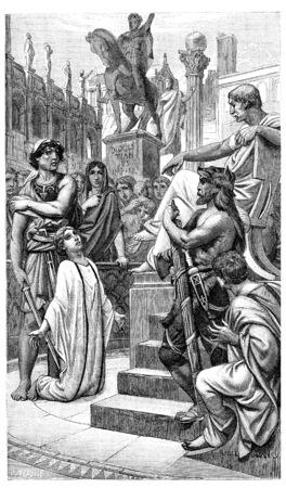 教会の世紀の初めにキリスト教の殉教、ヴィンテージには、図が刻まれています。 写真素材