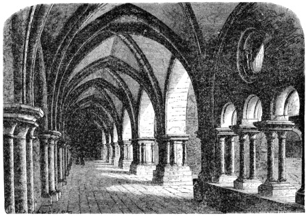 abbey: Cloister of the abbey of luxeuil, vintage engraved illustration.