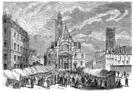 ve: Saint-Etienne-du-Mont, Novena of saint Geneviève, vintage engraved illustration. Stock Photo