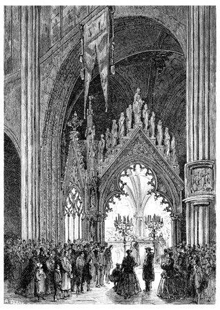 The Shrine of Sainte-Geneviève in Saint-Etienne-du-Mont, vintage engraved illustration. Фото со стока